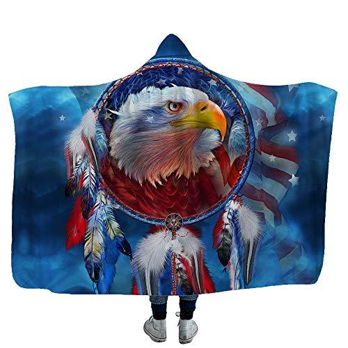 Flanelldecke 3D Adler Muster Kapuzendecke warme Plüsch TV tragbare Decke für Frauen & Mädchen Warmes Geschenk für Familienfreund Adults,E,150X130CM