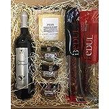 Económica cesta de Navidad para regalo con vino y productos gourmet de calidad e Ibéricos