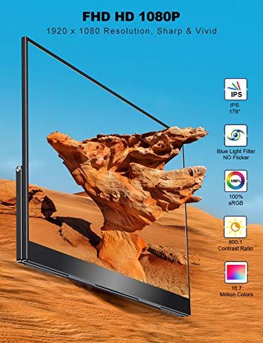 Portable Monitor 17,3 Zoll, UPERFECT Tragbarer Display 100% sRGB Rahmenloses 1920 * 1080 Full HD Gaming Monitor mit Verstellbarem Ständer Dual USB C OTG Mini DP HDMI für PC Handy PS3 PS4 Xbox Switch