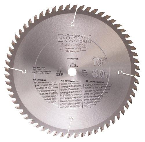 Bosch PRO1060SS Hoja de sierra de superficie sólida TCG de 10 pulgadas, 60 dientes con eje de 5/8 pulgadas