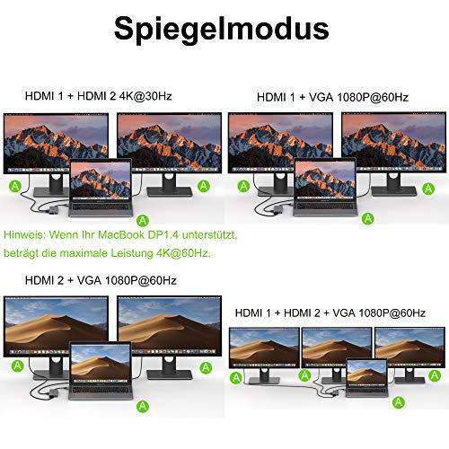 Selore&S-Global USB C Adapter USB C Docking Station für MacBook Pro 2016-2020/MacBook Air 2018-2020, mit Dual 4K HDMI, 1080P VGA, 2 USB 3.0 & 2.0, 100W PD, 1000M LAN, SD/TF Kartenleser, Audio&Mic