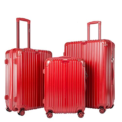 Timoo Luggage 3 Piece Set Light Weight Anti-Scratch ABS+PC Suitcase Set with Spinner Wheels TSA Lock, 20' 24' 28', Red