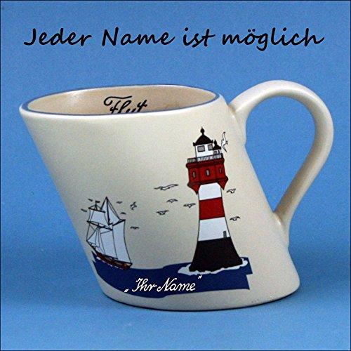 Schiefer Namensbecher mit Segler und Leuchtturm