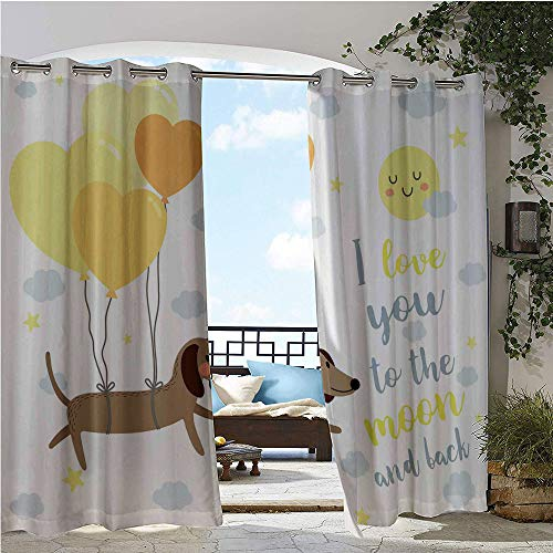 Outdoor Privacy Curtain for Pergola, Dog with Balloons and Concept Hearts Sun Clouds Puppy Best Friends, Thermal Insulated Water Repellent Drape for Balcony W120 x L84 Inch Yellow Cocoa Blue Grey