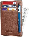 Chelmon Slim Wallet RFID Front Pocket Wallet Minimalist Secure Thin Credit Card Holder (Pebble Brown)