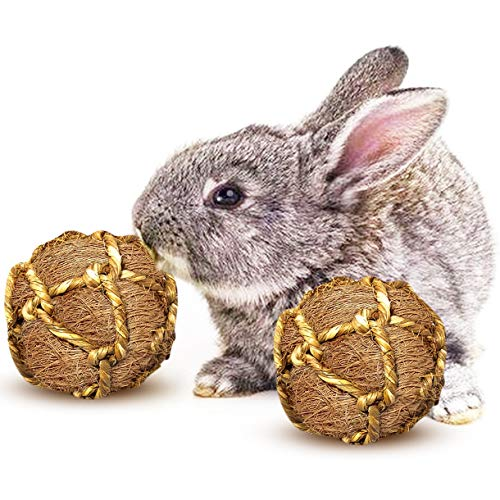 """Meric Coconut Fiber Balls for Rabbits, Pair of 3"""" Round Chew Toys, Improves Teeth and Gums, Provides Entertainment, Alleviates Stress and Boredom, Encourages Activity for Optimal Pet Health, 2-pc"""