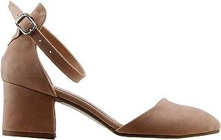 Ayakland 547-346 Günlük 5 Cm Topuk Süet Bayan Sandalet Ayakkabı Pudra