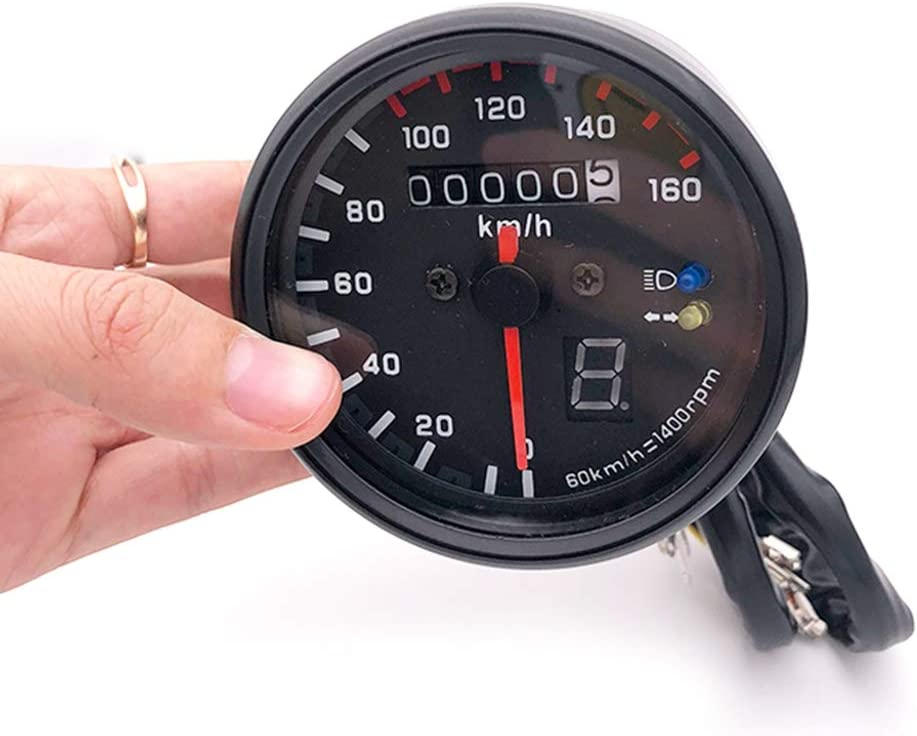 HONGPA 0-140KM//h Led Motorcycle Double Odometer Speedometer Tachometer with Turn Signal Headlight Neutral Signal for Motorbike CG GN