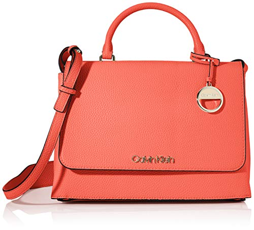 Calvin Klein Sided Top Handle, Women's Satchel, Red (Coral), 1x1x1 cm (W x H L)