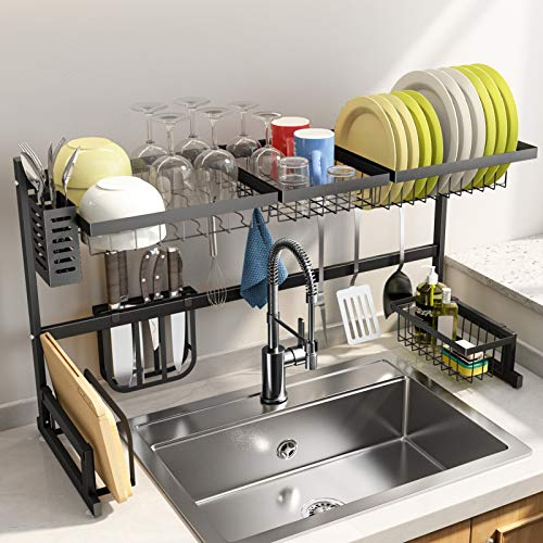 Over The Sink Dish Drying Rack SNTD Width Adjustable(32quot≤Sink Size ≤ 40quot) Stainless Steel Kitchen Supplies Storage Counter Organizer Black