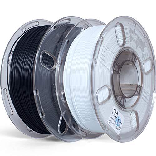 PRILINE PLA 1.75mm 2 Pack 3D Printer Filament, Dimensional Accuracy +/-0.03 mm,1kg/Spool,2kg Total,Black+ White