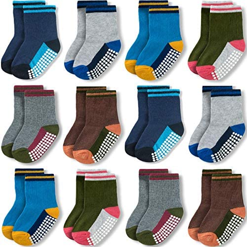 JAKIDAR Baby Girl Socks Non Slip Socks for Baby 12 Pack Cotton Toddler Socks Blue Gray 6 12 product image