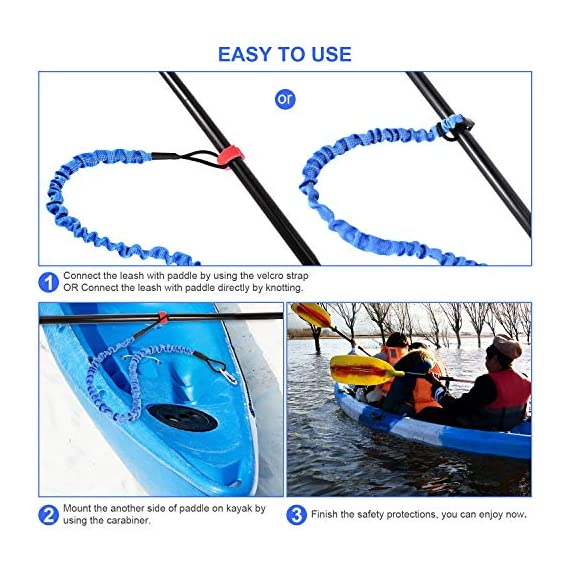 """FIRINER 2 Pack Stretchable Paddle Leash with D-Shape Carabiner, 3.6ft Kayak Paddle Tether Set Coiled Strap Bungee Leash… 5 【Easy to Use】This paddle leash is easy to use and attach. All you have to do is to tie its one end to the paddle or fishing rod and attach the other end to your life jacket or your boat with the carabiner 【Stretchable Design】The kayak leash paddle can be extended from 44.8 inch to 59 inch, which is long enough for most usage. 14"""" of elongation keeps you reach what you need when paddling or reeling to a large extent 【Durable】This kayak paddle leash is made of 6mm super strong elastic rubber to make sure its service time, the fixed elongation won't over stretch and loose elasticity. And nylon outer greatly increase its anti-corrosion performace and longer service life"""