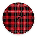 Home Reloj de pared redondo de madera vintage silencioso de 10 pulgadas, celosía roja y negra, fácil de leer y que funciona con pilas, reloj que no hace tictac para oficina / cocina / dormitorio / sal