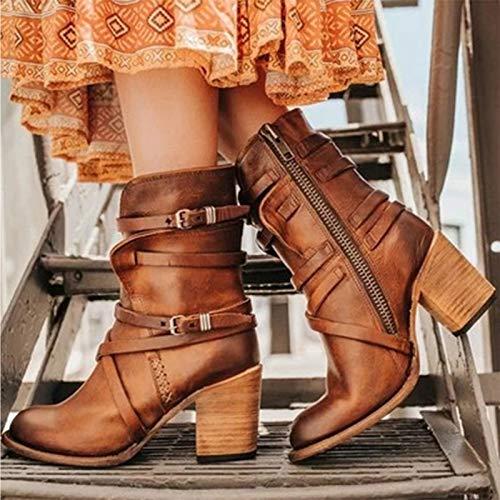 YHZQ 2020 Botas De Tobillo Mujer, Bota Moderna De Occidental con Buckle Block Heel, Otoño Invierno Botas Rithing Knight Bootie (35-43EU) Red brown-EU43