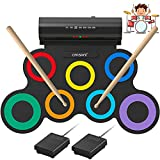 ORASANT Real-Effect Rechargeable Portable Electronic Drum Set, Multi-Functional Electric Drum Set with Volume Adjustable Built-in Speaker Headphone Jack Foot Pedals Sticks 10H Playtime, Christmas Gift
