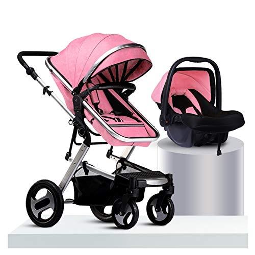 KHUY Sistema de Viaje Coche Bebe y Silla Bebe Coche, Silla de Paseo de Bebe con Canasta para Bebés, Cochecito de Bebe 3 en 1 con Ventilador de Cochecito y Cochecito (Color : Pink)