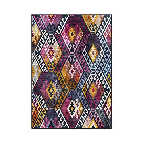 HJFGIRL Geometrischer Böhmischer Teppich Mehrfarbige Bodenmatte Große Lernteppiche Persönlichkeit Kinderzimmermatte Teppich Pad Spieldecke Für Stühle, Hocker Und Sofas,60x180cm(24x71inch)
