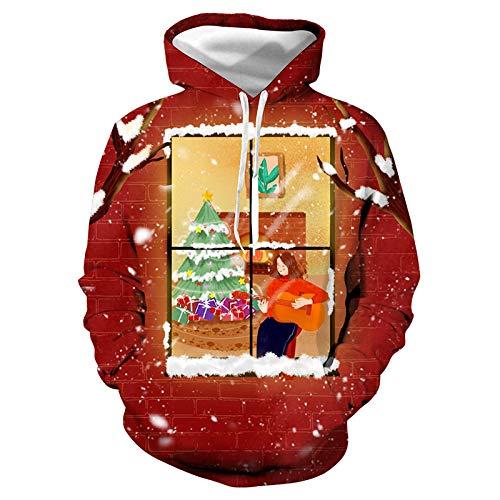 INSTO Pullover Rot Weihnachtsgeschenk 3D Pullover Hoodie Weihnachten Paar Tragen Unisex Einfach Beiläufig/rot / 3XL