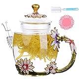 DOUHAO Théière en Verre Transparente, Émail de Fleur Bouilloire de thé en Verre Cristal créatif pour Boisson Chaude...