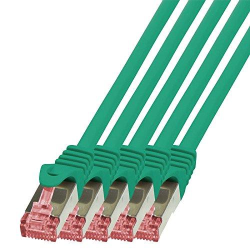 BIGtec - 5 Stück - 1m Netzwerkkabel Patchkabel Ethernet LAN DSL Patch Kabel Gigabit grün (2X RJ-45 Anschluß, CAT6, doppelt geschirmt) 1 Meter