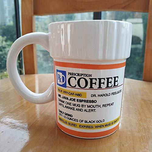 Originele recept Koffiemok, Grappige Mok Reizen Reatieve Keramische Bekers en Mok Cafeïne Cup Apotheek voor Gift