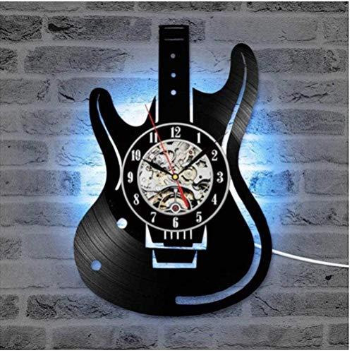 Schallplatte Vinyl Wanduhr Gitarre LED-Uhren Altes Musikinstrument Home Decor Kreative Stille Hängende Uhr für Musikliebhaber