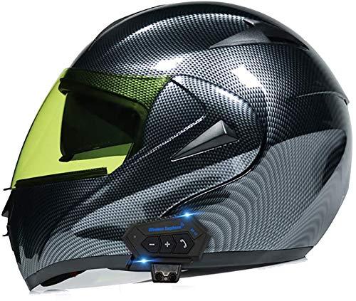 ZLYJ Bluetooth Casco de Motocicleta, Casco Cara Completo, Anti-Niebla/ccolisión Casco, Abierto Cascos Motocross, Marcado por Voz Llamada Manos Libres MP3 FM, Homologado ECE N,L