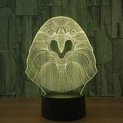 Luz de noche pequeña 3D Cabeza de águila Luz de 7 colores Visión 3D Luz de noche pequeña LED para niños Lámpara de escritorio USB táctil Bebé durmiendo Luz de noche Lámpara linda