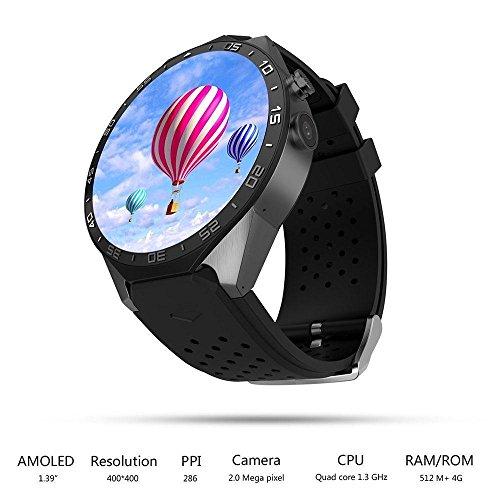 Android Smart Watch, 2018 Smart Tech 5.1 Quad Core 4 GB Bluetooth 3G WIFI GPS hartslag voor Android - ZWART KLEUR