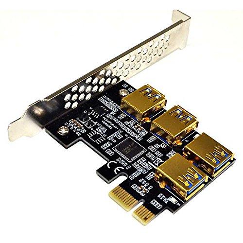 CUHAWUDBA Neue 4 Ports PCIe Riser Adapterkarte PCI-E 1x bis 4 USB 3.0 PCI-E Rabbet GPU Riser Extender Ethereum ETH/Monero XMR/Zcash ZEC 16X Externe Slotkarten-Multiplier Fuer Miner Mining BTC