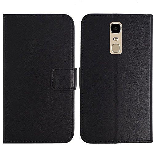 TienJueShi Schwarz Flip Book-Style Brief Leder Tasche Schutz Hulle Handy Hülle Abdeckung Fall Wallet Cover Etui Skin Fur Phicomm Energy 3+ 5.5 inch
