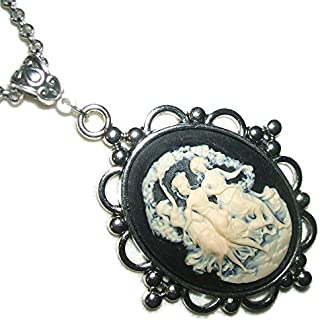 THREE GRACES CAMEO NECKLACE Victorian Dancing Muses Pendant Silver Plt