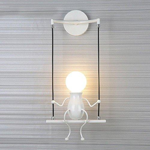 Modern Wandleuchte Kreativ Einfachheit Design Leuchten Innen Beleuchtung Kinder Lampe Wandbeleuchtung Wandlampe für Flur Korridor Wohnzimmer Schlafzimmer Dekorative E27 * 1 , Weiß