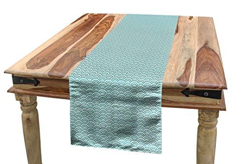 ABAKUHAUS Agua Camino de Mesa, Líneas Curvy mar Burbujas, Decorativo Estampado Digital Apto Lavadora No Destiñe, 40 x 300 cm, Cielo Azul Blanco