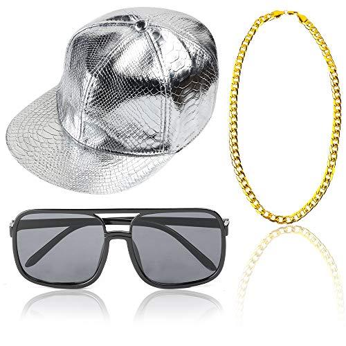Beelittle 80 / 90s Accesorios de vestuario Rapper Hip Hop Conjunto Gorra de béisbol Snapback ajustable con borde plano sólido, Gafas de sol Rapper DJ y Cadena chapada en oro (B)