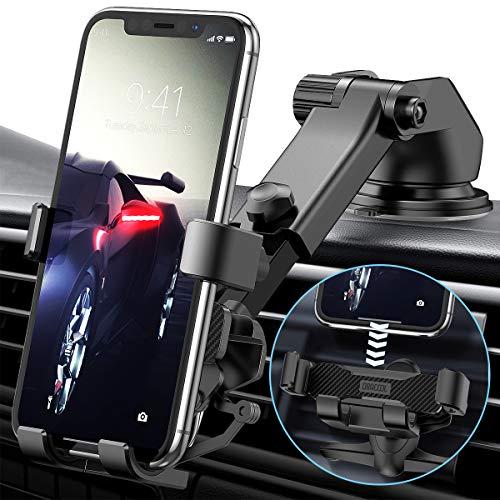 Dracool Support Telephone Voiture GPS Gravite Grille aeration Pare Brise Tableau de Bord par Ventouse pour iPhone 12 11 Pro XS Max XR X 8 7 Se Samsung Galaxy S20 Ultra S10 9 Note 20 10 9 Plus Noir