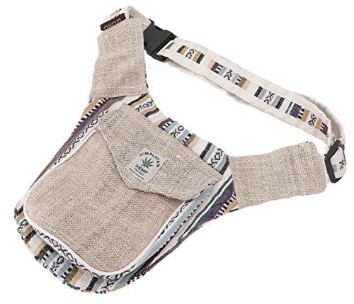 GURU-SHOP Cáñamo Ethno Sidebag, Nepal Belt Bag - Negro, Unisex - Adultos, Algodón, Fundas Airbags Laterales