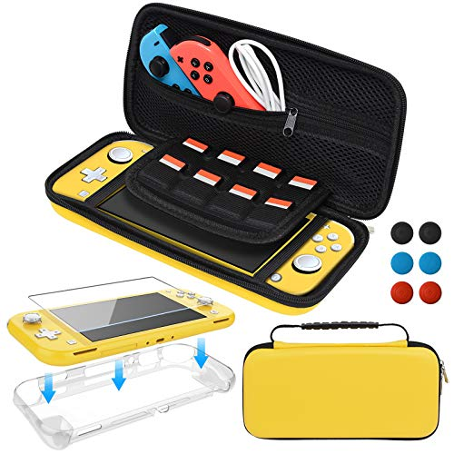 Accessories Kit for Nintendo Switch Lite, Bundle with Carrying Case, TPU Protective Cover, Screen Protector and Thumb Grips for Switch Lite 2019, Yellow