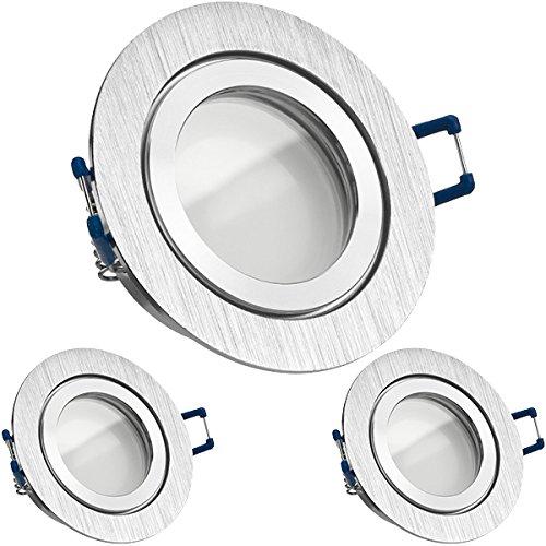 3er IP44 LED Einbaustrahler Set Bicolor (chrom/gebürstet) mit LED GU10 Markenstrahler von LEDANDO - 5W - warmweiss - 120° Abstrahlwinkel - Feuchtraum/Badezimmer - 35W Ersatz - A+ - LED Spot 5 Watt