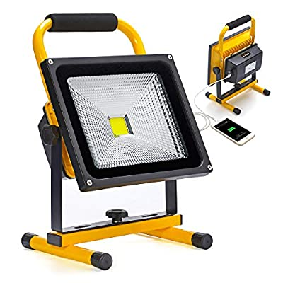30W LED Work Light Rechargeable Portable Flood Light Battery Powered Flood Light for Outdoor Lighting,Camping,Hiking,Fishing,Car Repairing,Construction Site