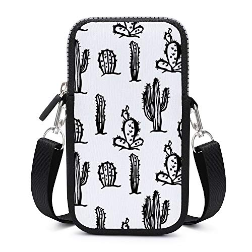 Handy-Umhängetasche mit abnehmbarem Schultergurt, weißer Kaktus
