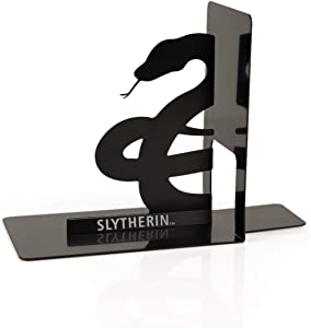 Harry Potter Metal Bookends - Black Hogwarts House Slytherin Diecast Design - Decorative Book Holder - Home, Office, Kitchen, Room Decor - Books Collection Display For Shelves - Desk Accessories Set