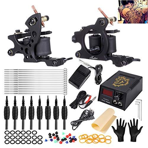 2 Pro Tattoo Machines Rotary Machine Coil Gun Tatouage Complète Machine À Tatouer Professionnelle Power Supply Disposable Needles Aiguille De Tatouage Tattoo Kit Foot Pedal