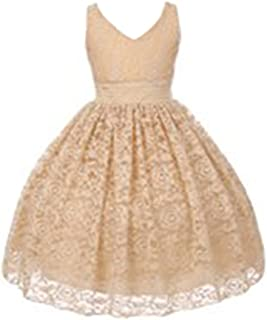 c637c213d Shanil Little Girls Champagne Floral Lace Pearl Accented Flower Girl Dress  2T-6