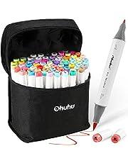 Ohuhu 72 Colors Alcohol Markers, Brush & Fine Double Tipped Sketch Marker For Kids, Artist, Alcohol Brush Art Marker Set, Comes W/ 1 Blender For Sketching, Adult Coloring, Illustration, And Design