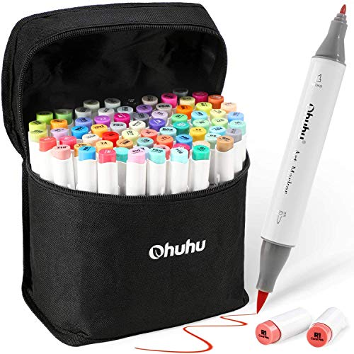 Ohuhu 120 Colors Alcohol Art Markers (Fine & Chisel) + Ohuhu 72 Colors Alcohol Brush Markers (Brush & Fine)