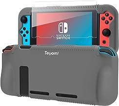 Teyomi capa de silicone protetora para Nintendo Switch, capa de aperto com protetor de tela de vidro temperado, 2 slots de...