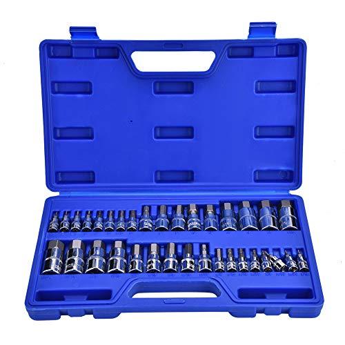 Juego de llaves de vaso hexagonales 1/2' 1/4' 3/8' 34 piezas profesionales, llaves de vaso externas con maletín azul