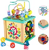 Fajiabao Wooden 5 in 1 Activity Cube Center Multifunction Toys Bead Maze Shape Sorting Gears Sliding Board Games Montessori Counting Beads Toddler Early Learning for Boy Girl 3 4 5 Year Old